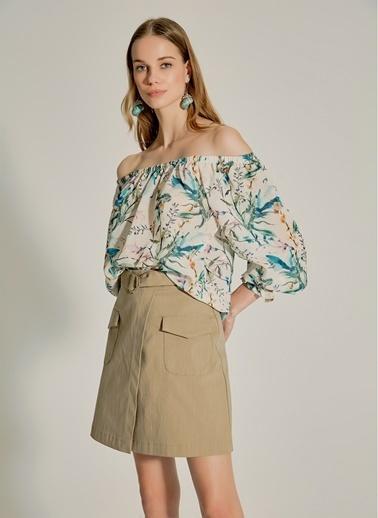 NGSTYLE Carmen Yaka Desenli Bluz Yeşil